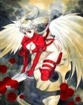 angel_wings blood blood_splatter boots breasts cleavage cleavage_cutout dual_wielding elbow_gloves final_fantasy final_fantasy_tactics gloves head_wings kikimimi_612 long_hair red_eyes silver_hair solo sword thigh-highs thigh_boots thigh_strap thighhighs ultima_(fft) weapon wings