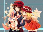1boy 1girl arm_holding bag blonde_hair blue_eyes blush bow breasts brown_hair copyright_name female_protagonist_(pokemon_xy) hat holding long_hair male_protagonist_(pokemon_xy) nicole_(usako) poke_ball pokemon pokemon_(game) pokemon_xy short_hair shoulder_bag smile star sunglasses sunglasses_on_head sylveon