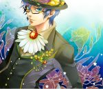 bespectacled blue_eyes blue_hair boutonniere flower formal glasses hat kaito male semi-rimless_glasses short_hair smile solo star suit toba_k under-rim_glasses vocaloid