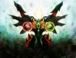 debris drill fangs freedomz3 genesic_gaogaigar glowing glowing_eyes green_eyes hell_and_heaven highres long_hair mecha no_humans red_eyes solo super_robot tail wings yuusha_ou_gaogaigar yuusha_ou_gaogaigar_final yuusha_series