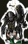 absurdres alien alien_(movie) armor battle blood bow claw_(weapon) crossover dress fishnets green_dress hair_bow hairlocs helmet highres judgemasterkou katana konpaku_youmu predator predator_(film) short_hair silver_hair simple_background sword touhou weapon wrist_blades xenomorph