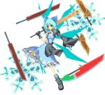 advent_cirno blue_eyes blue_hair bow cirno fusion_swords gloves grin hair_bow long_sleeves puffy_sleeves sanshirou short_hair short_sleeves smile snowflakes solo sword touhou weapon