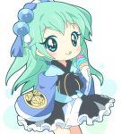 1girl :q aqua_eyes aqua_hair chibi food hair_ornament holding ice_cream ice_cream_cone japanese_clothes long_hair looking_at_viewer mirai_(sugar) sengoku_collection smile solo tokugawa_ieyasu_(sengoku_collection) tongue