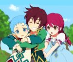 2boys asbel_lhant blue_eyes blue_hair blush braid cheria_barnes closed_eyes eyes_closed grin hirosuke hubert_ozwell hug hug_from_behind long_hair multiple_boys red_hair redhead short_hair smile tales_of_(series) tales_of_graces yellow_eyes young