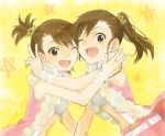 brown_hair futami_ami futami_mami idolmaster oomori_(atu-oomori11) siblings side_ponytail smile v wink
