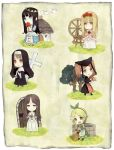 aohigeko apple blue_eyes brown_eyes brown_hair buranko_(marchen) chibi cross dornroschen dress food fruit green_eyes idoko long_hair marchen medieval mitsutoki multiple_girls nun nun_(marchen) schneewittchen smile sound_horizon tree well