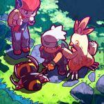 2boys backpack bag beret black_hair combusken curious fingerless_gloves forest gloves grass hat katou_tom kouki_(pokemon) male multiple_boys nature ninjask pokemon pokemon_(creature) pokemon_(game) pokemon_dppt pokemon_rse sweatdrop yuuki_(pokemon)