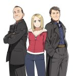 2boys arms_behind_back blazer blue_eyes brown_eyes brown_hair captain_jack_harkness clothes_writing crossed_arms doctor_who epaulettes go_robots hands_in_pockets highres hoodie jack_harkness jeans multiple_boys ninth_doctor realistic rose_tyler short_hair simple_background smile the_doctor trench_coat white_background