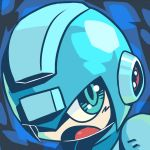blue blue_eyes face helmet koi_drake male open_mouth robot rockman rockman_(character) rockman_(classic) solo