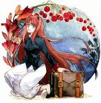 aozaki_aoko blue_eyes briefcase flower hair_intakes long_hair rakuko red_hair redhead skirt smile solo traditional_media tsukihime watercolor_(medium)