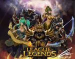 3girls absurdres armor arrow ashe_(league_of_legends) black_hair blonde_hair blue_eyes boots bow_(weapon) breasts brown_eyes cassiopeia_du_couteau claws cleavage closed_eyes cloud clouds crossed_arms eyes_closed green_eyes green_hair helmet highres hoodie instrument jarvan_lightshield_iv lamia lavender_hair league_of_legends long_hair multicolored_hair multiple_boys multiple_girls navel nocturne_(league_of_legends) oz_(gerbera7) short_hair snake sona_buvelle thigh_boots thighhighs twintails weapon white_hair wink