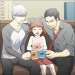 2boys ^_^ belt black_hair brown_hair casual closed_eyes coffee couch cousins cup doujima_nanako doujima_ryoutarou dress_shirt eyes_closed family father_and_daughter grey_hair grin hair_ribbon meta mug multiple_boys narukami_yuu necktie open_mouth persona persona_4 raglan_sleeves ribbon shirt short_hair sitting smile title_drop twintails yoshida_shiro