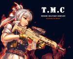 acog acr alternate_costume alternate_hairstyle assault_rifle bow bushmaster_acr fire fujiwara_no_mokou gun hair_bow load_bearing_vest long_hair operator ranger_(mll0101) red_eyes rifle short_sleeves silver_hair sleeves_rolled_up solo touhou trigger_discipline vest weapon