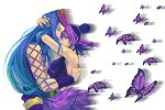1boy 1girl black_hair blackzizi blue_eyes blue_hair butterfly couple double_bun hat jojo_no_kimyou_na_bouken kuujou_jolyne long_hair multicolored_hair nail_polish narciso_anasui purple_hair two-tone_hair