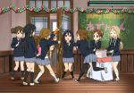 6+girls black_socks cake chalkboard food happy_birthday hirasawa_ui hirasawa_yui k-on! kotobuki_tsumugi manabe_nodoka megane multiple_girls nakano_azusa pantyhose party_popper school_uniform seifuku suzuki_jun tainaka_ritsu uwabaki watanore white_socks yamanaka_sawako