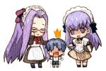 1boy 2girls apron blue_hair blush chibi fate/hollow_ataraxia fate/stay_night fate/zero fate_(series) glasses long_hair maid maid_headdress matou_sakura matou_shinji multiple_girls purple_eyes purple_hair rakuko rider suspenders time_paradox traditional_media turn_pale violet_eyes watercolor_(medium) wavy_hair young