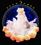 bishoujo_senshi_sailor_moon blonde_hair cat dress flower luna_(sailor_moon) princess_serenity rose smile tsukino_usagi tsuzuki_(flee_away) twintails white_dress