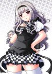 checkered checkered_skirt cosplay hairband haiyore!_nyaruko-san highres idolmaster long_hair makkemi nyarlathotep_(nyaruko-san) nyarlathotep_(nyaruko-san)_(cosplay) purple_eyes shijou_takane silver_hair skirt thigh-highs thighhighs violet_eyes white_legwear zettai_ryouiki