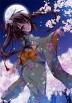 1girl absurdres anapom blush brown_eyes brown_hair cherry_blossoms fang flower from_behind full_moon hair_flower hair_ornament hair_ribbon highres japanese_clothes kimono long_hair looking_back moon night open_mouth original petals ribbon sky smile solo tree twintails