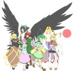 animal_ears aqua_hair arm_cannon bird_wings black_hair black_wings blonde_hair bow braid bucket cape cat_ears collarbone cross-laced_footwear cuffs detached_sleeves fang green_eyes green_hair grin hair_bobbles hair_bow hair_ornament hairband hat hat_ribbon heart highres horn hoshiguma_yuugi in_bucket in_container kaenbyou_rin kisume komeiji_koishi komeiji_satori kurodani_yamame long_hair long_sleeves mismatched_footwear mizuhashi_parsee multiple_girls open_mouth orange_eyes pink_eyes pink_hair pointy_ears ponytail puffy_sleeves red_hair redhead reiuji_utsuho ribbon scarf shackles short_hair short_sleeves smile standing subterranean_animism third_eye touhou twin_braids twintails weapon white_background wide_sleeves wings yellow_eyes
