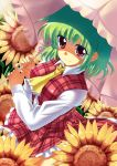 1girl flower green_hair hidamarinet kazami_yuuka plaid plaid_vest red_eyes short_hair solo sunflower touhou umbrella
