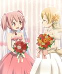2girls blonde_hair bouquet bridal_veil closed_eyes dress drill_hair flower kaname_madoka lieass long_hair mahou_shoujo_madoka_magica multiple_girls pink_eyes pink_hair short_hair short_twintails tomoe_mami twin_drills twintails veil wedding_dress