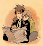 akutabe baby barefoot glasses if_they_mated newspaper no_eyebrows sakuma_rinko yondemasuyo_azazel-san