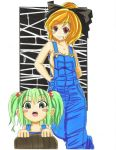 alternate_costume blonde_hair blush blush_stickers bow breasts bucket cleavage collarbone crim0718 green_eyes green_hair grin hair_bobbles hair_bow hair_ornament in_bucket in_container kisume kurodani_yamame multiple_girls naked_overalls open_mouth overalls red_eyes short_hair sleeveless smile touhou twintails