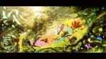 animal animal_ears bird blonde_hair bow butterfly cat_ears cat_tail catgirl character_request chen chimerism colorful feathers flowers forest fox_ears fox_tail foxgirl fusion hair_bow hat hat_removed headwear_removed highres long_hair long_skirt long_sleeves multiple_girls multiple_tails nature outstretched_arms scenery scenic short_hair skirt tagme_(character) tail touhou tree tsurugi_hijiri umbrella very_long_hair wide_sleeves yakumo_ran yakumo_yukari yin_yang