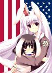 america american_flag animal_ears australia bunny_ears canada canadian_flag highres hug inaba_tewi lavender_hair multiple_girls photoshop rabbit_ears reisen_udongein_inaba tateha_(artist) tears touhou union_jack united_kingdom