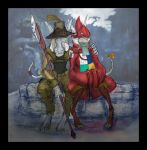 1girl barefoot blue_eyes burmecian claws couple digitigrade female final_fantasy final_fantasy_ix fountain fratley freija_crescent freya_crescent halberd hat hat_over_eyes hat_over_one_eye hug long_ears male polearm rain rat rat_ears rat_tail ribbon rodent sir_fratley tail tail_ribbon toeless_legwear toeless_socks video_games weapon white_hair wide_sleeves zaeta-k zaetak