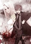 1boy 1girl black_eyes black_hair blood blood_splatter cullets dress emiya_kiritsugu facial_hair fate/zero fate_(series) gun irisviel_von_einzbern long_hair necktie red_eyes stubble thompson_contender weapon white_hair