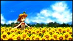 1girl :d bow brown_eyes brown_hair cloud clouds flower flower_field hat long_hair mikan_(pokemon) mountain open_mouth outstretched_arms pokemon pokemon_(creature) pokemon_(game) pokemon_hgss ribbon ribero sky smile spread_arms straw_hat summer sunflower sunkern windowboxed