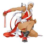 archer command_spell cosplay crossdressing dark_skin fan fatal_fury fate/stay_night fate_(series) fingerless_gloves folding_fan gloves japanese_clothes king_of_fighters legs leotard male pinki_(shounenkakuseiya) shiranui_mai shiranui_mai_(cosplay) solo thong_leotard white_hair