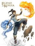 aerokinesis air avatar:_the_last_airbender bare_shoulders blue_eyes breasts brown_hair dark_skin earth_(element) element_bending fire hair_tubes highres kazeco korra legend_of_korra long_hair ponytail pyorkinesis pyrokinesis rock solo title_drop topknot water wind