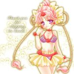 1girl bikini bishoujo_senshi_sailor_moon blush bracelet cerecere engrish flower hair_bun hair_flower hair_ornament hair_ribbon jewelry lowres miniskirt pink_hair ranguage ribbon shirataki_kaiseki short_hair skirt smile solo swimsuit thank_you violet_eyes