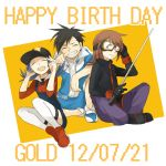 2012 2boys alternate_costume anniversary bangs baseball_cap birthday black_hair blue_hair brown_hair character_name closed_eyes crystal_(pokemon) dated eyes_closed goggles gold_(pokemon) gym_uniform happy happy_birthday hat holding inuyaki multiple_boys open_mouth pokemon pokemon_special silver_(pokemon) sitting smile thigh-highs thighhighs twintails