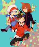 2boys bangs baseball_cap black_hair blue_background blue_eyes blue_hair blush crystal_(pokemon) gloves goggles goggles_on_head gold_(pokemon) grey_eyes hat multiple_boys pokemon pokemon_special pokke-pokke-pinoko silver_(pokemon) sitting smile star twintails v
