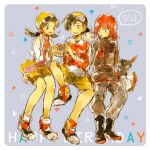 bangs bike_shorts birthday black_hair blue_eyes bouquet closed_eyes crystal_(pokemon) english eyes_closed flower gift gloves goggle_on_head goggles goggles_on_head gold_(pokemon) grey_eyes holding mym pokemon pokemon_special purple_background red_hair redhead rose silver_(pokemon) sitting smoochum sneasel yellow_eyes