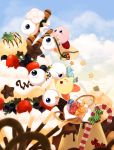 alternate_color bag basket blue_eyes blueberry blush cake candy candy_cane chocolate cloud clouds cream cyclops dew-spiegel food fruit ice_cream kirby kirby_(series) kracko lollipop pocky pudding sky star strawberry