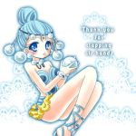 1girl ball bindi bishoujo_senshi_sailor_moon blue_eyes blue_hair blush circlet engrish hair_bun leotard lowres pallapalla ranguage sandals shirataki_kaiseki short_hair solo thank_you