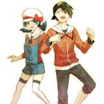 1boy 1girl bangs black_hair blue_eyes blush couple crystal_(pokemon) gold_(pokemon) holding_hands pokemon pokemon_(game) pokemon_gsc pokemon_special ribbon sh02a shy twintails yellow_eyes