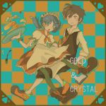 1boy 1girl alternate_costume apron bangs black_hair blue_eyes blue_hair boots character_name checkered checkered_background cherry cream crystal_(pokemon) dress earrings falling food fork fruit gold_(pokemon) heart jewelry maid open_mouth pancake pokemon pokemon_special sakumomi star star_earrings sweatdrop thigh-highs thighhighs twintails yellow_eyes