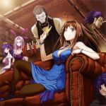 3girls ;) absurdres animal_ears aozaki_aoko bare_shoulders between_breasts black_skin blue_eyes bracelet breasts bridal_gauntlets brown_hair bunny_ears butler champagne choker cleavage company_connection couch drink fate/stay_night fate/tiger_colosseum fate/zero fate_(series) glass gown hair_intakes highres jewelry large_breasts long_hair mahou_tsukai_no_yoru mask matou_sakura matou_shinji matou_zouken mini_hat multiple_boys multiple_girls pantyhose pipes purple_eyes purple_hair reclining rider short_hair smile task_owner time_paradox true_assassin type-moon wavy_hair wink