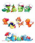 baseball_cap beret blue_(pokemon) blue_(pokemon)_(cosplay) bulbasaur charmander chikorita chimchar closed_eyes clothed_pokemon cosplay cyndaquil gold_(pokemon) gold_(pokemon)_(cosplay) haruka_(pokemon) haruka_(pokemon)_(cosplay) hat hikari_(pokemon) hikari_(pokemon)_(cosplay) jewelry kotone_(pokemon) kotone_(pokemon)_(cosplay) kouki_(pokemon) kouki_(pokemon)_(cosplay) mudkip necklace no_humans ookido_green ookido_green_(cosplay) open_mouth piplup pokemon pokemon_(creature) pokemon_(game) pokemon_rse porkpie_hat red_(pokemon) red_(pokemon)_(cosplay) ribbon running sanshoku_iruka scarf signature sleeping smile squirtle torchic totodile traditional_media treecko turtwig yuuki_(pokemon)
