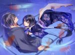 bad_id barefoot black_hair blue_eyes fish fuuchouin_kazuki getbackers highres japanese_clothes kakei_juubei kimono long_hair male multiple_boys papillon10 ponytail short_hair trap