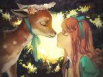 brown_hair closed_eyes deer eyes_closed hair_ribbon long_hair original ribbon rifsom smile