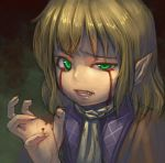 blonde_hair blood bloody_tears clenched_teeth green_eyes mizuhashi_parsee pointy_ears short_hair solo touhou zhengyifan7