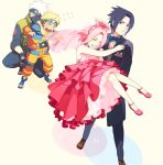 3boys black_hair blonde_hair carrying couple dress grey_hair haruno_sakura hatake_kakashi multiple_boys naruto oba-min pink_hair princess_carry team7 team_7 tuxedo uchiha_sasuke uzumaki_naruto wedding wedding_dress