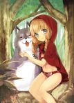 blonde_hair blue_eyes blush bra braid dog hair_ribbon hood lingerie little_red_riding_hood little_red_riding_hood_(grimm) long_hair looking_at_viewer midorikawa_you no_pants no_shirt panties ribbon sitting smile solo striped striped_panties twin_braids underwear wolf